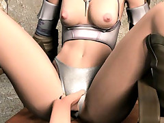 Tied up 3D hentai babe dicked by a conqueror