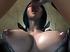 Big tittied 3D hentai brunette gets her holes roughly banged