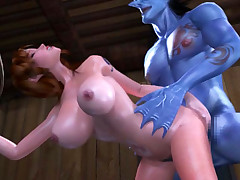 Hentai 3D big tittied hottie gets challenged with a monster sized knob