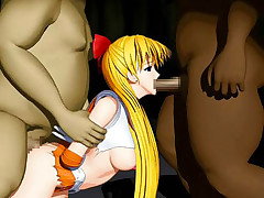 Hentai 3D golden-haired caught and very nearly ripped apart by a horny monster